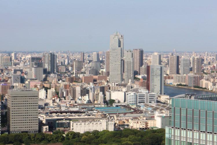 Aussicht vom World Trade Center auf den Fischmarkt und Tsukishima.