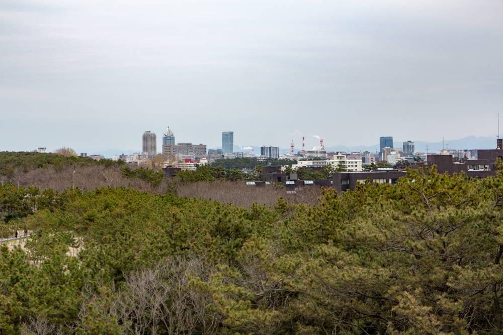 Blick vom Sekibun Memorial Park auf die Stadt mit viel Grün im Vordergrund und der Skyline von Niigata im Hintergrund
