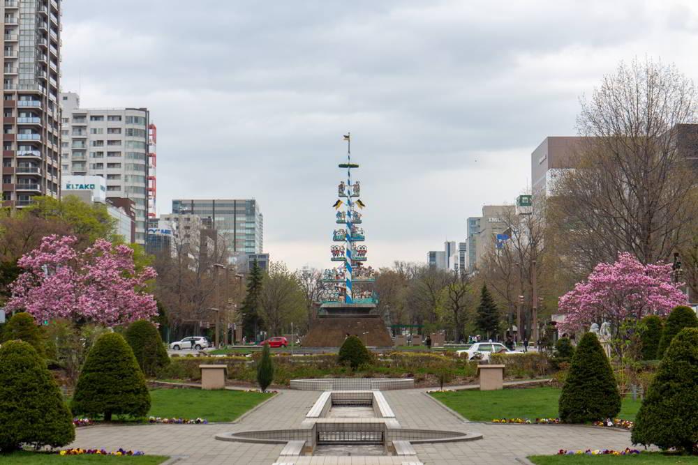 Der Maibaum im Odori-Park in Sapporo gesäumt von Kirschblüten.