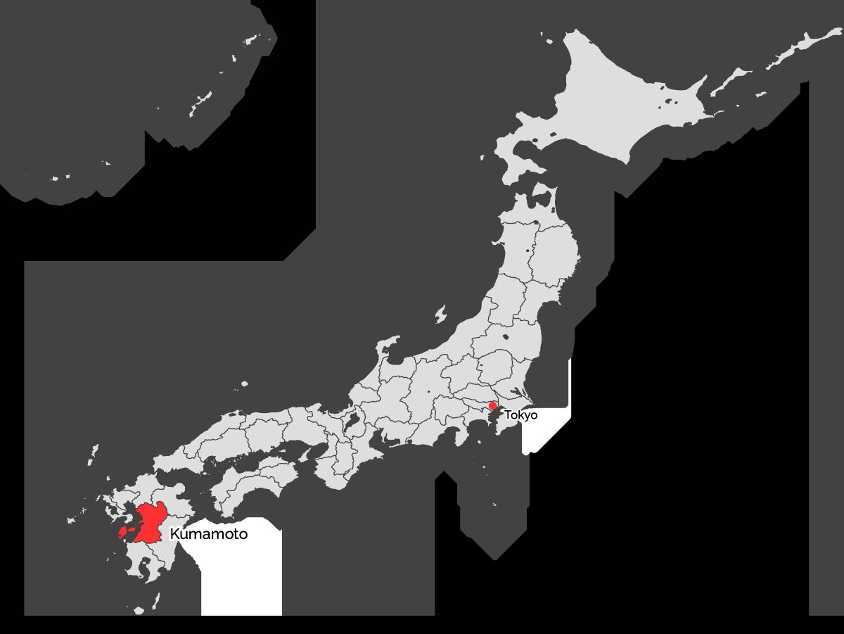 Karte von Japan mit Kumamoto rot markiert