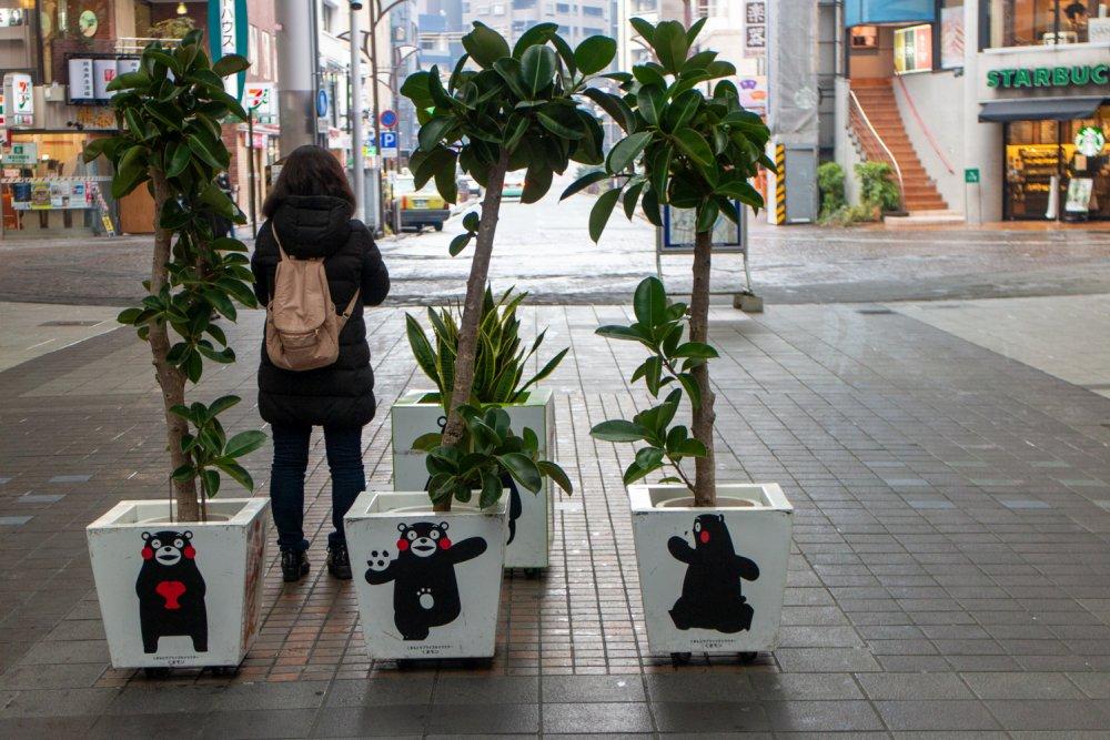 Kumamon ist im Stadtbild von Kumamoto omnipräsent.