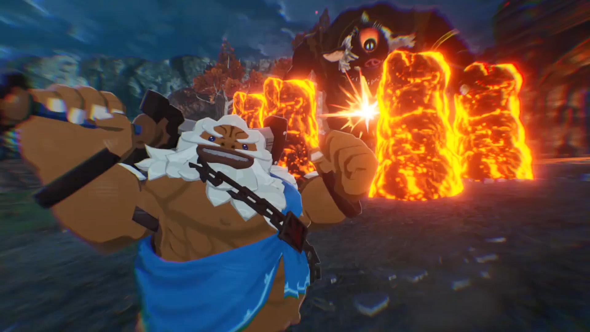 Wenig überraschend nutzt der Goronen-Krieger das Element Feuer und Steine zu seinem Vorteil.