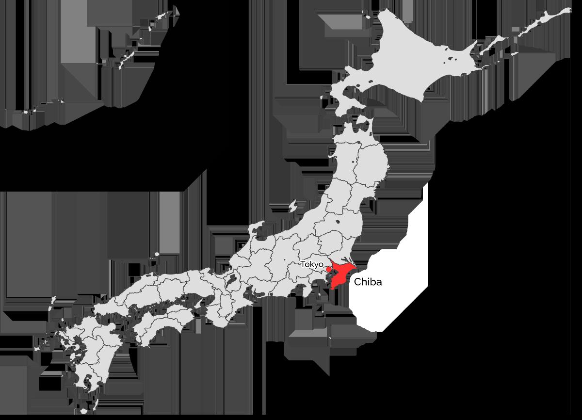 Die Lage der Präfektur Chiba in Japan