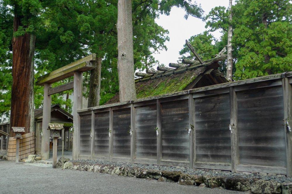 Im inneren Schrein des Ise Jingu. Das Gebäude wurde damals gerade zum Abriss vorbereitet.