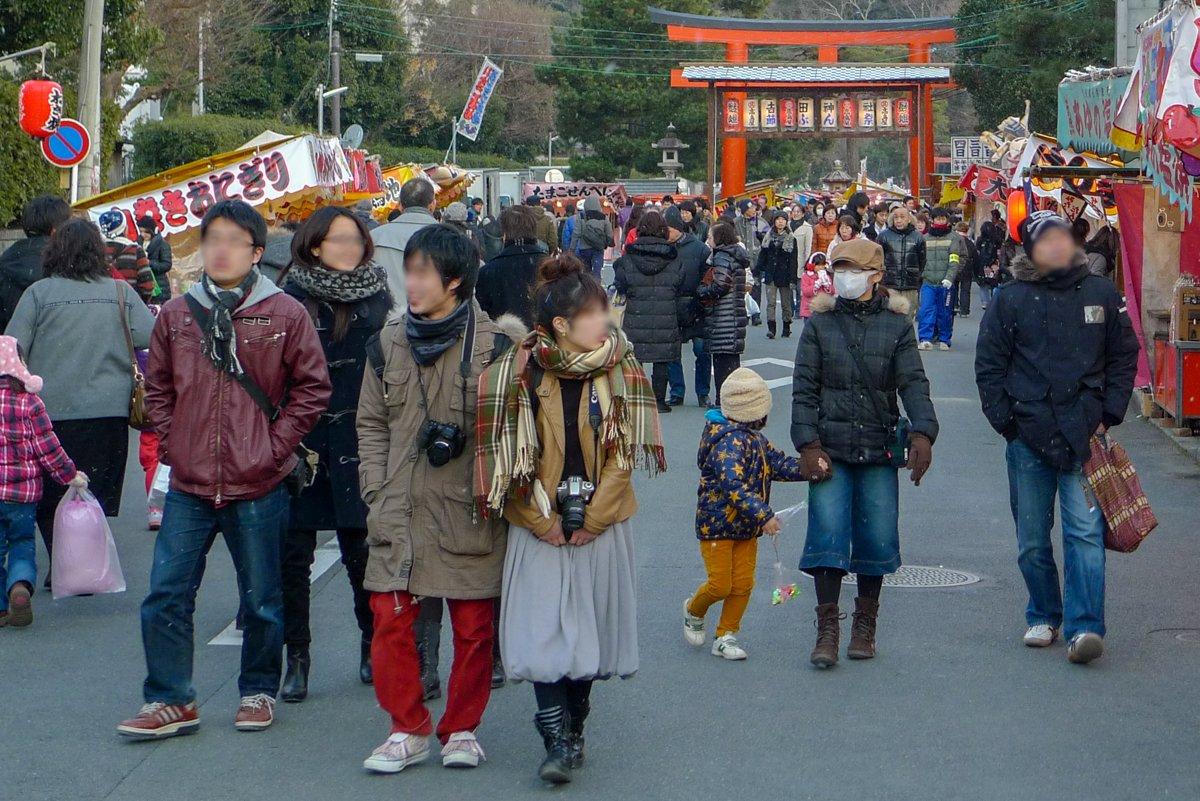 Kyōto im Winter 2012 - auch hier gab es bereits Menschen mit Maske auf den Straßen von Japan.