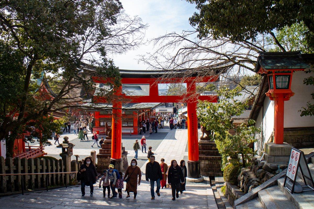 Kyōto 2020 - Im März waren wir noch einmal in der Stadt. Am Fushimi-Inari-Schrein war es relativ ruhig.